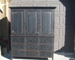 Custom Made Barnwood Armoire in Black