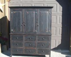 Custom Made Barnwood Armoire in Black