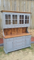 Custom glass top hutch with drawers
