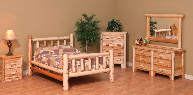 white cedar log furniture