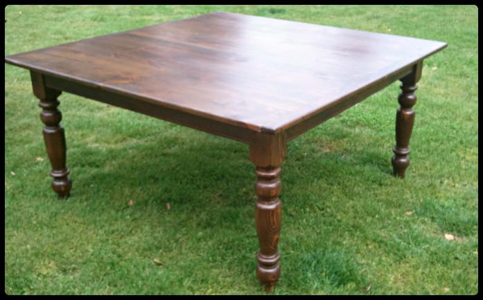 5 X 5 Thin Top Reclaimed Pine Farmhouse Table With Dk Stain And Turned Legs