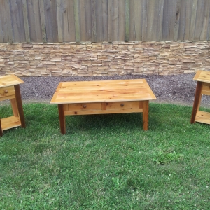 matching natural coffee table & end table