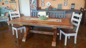 7ft reclaimed pine Farmhouse trestle table
