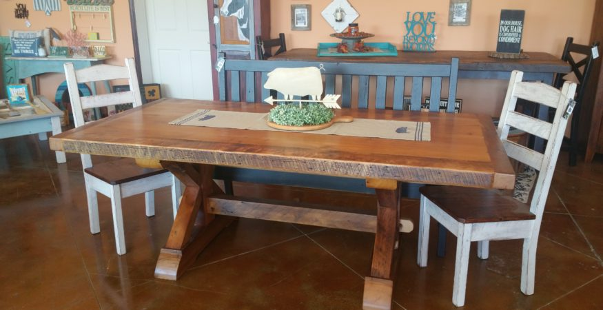 7ft Reclaimed Pine Trestle Table ...