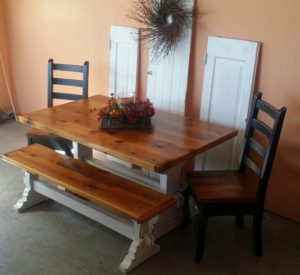 5ft trestle style reclaimed pine table with matching bench $ 1395.00 chairs sold separate $ 265.00 each