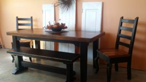 6ft reclaimed pine table with black over blue distressed base, trestle style bench, and 2 matching chairs