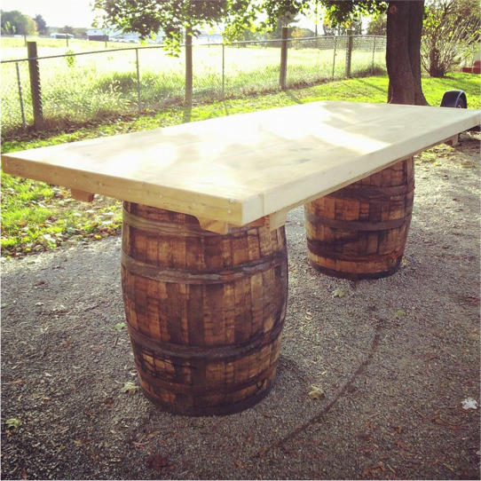 reclaimed wine barrel tables
