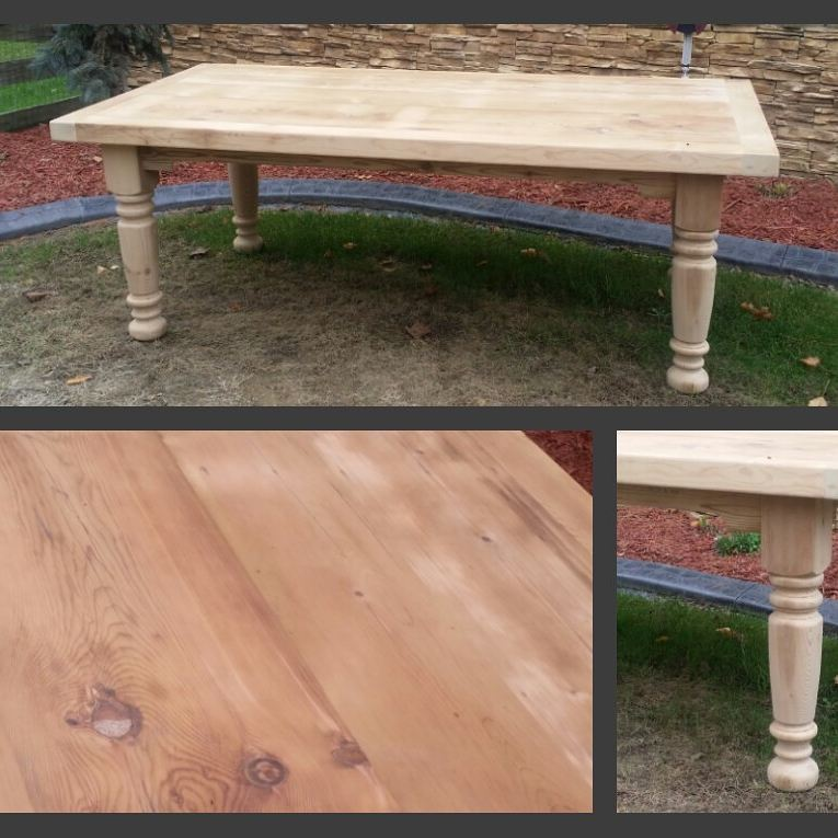 7 x 42 Reclaimed Pine Extra thick look Turned leg table Unfinished Special $895.00