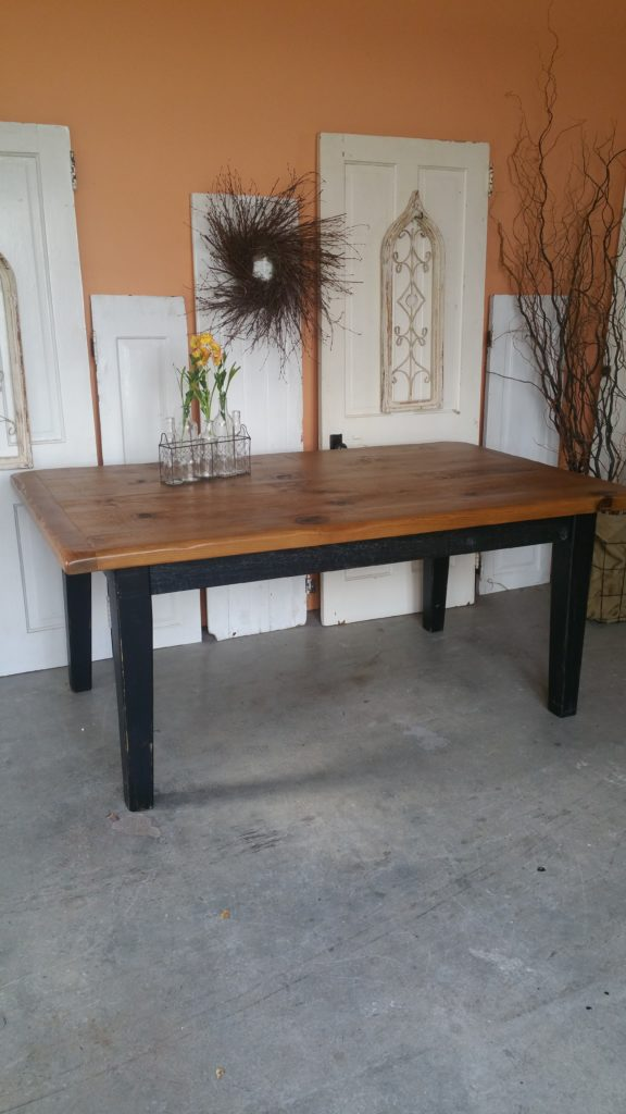 6ft Pine Farm House table with black distress base. November Special $495.00
